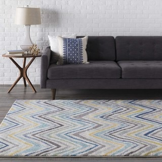 "Aiden Blue & Grey Casual Chevron Area Rug - 9'3"" x 12'6"""