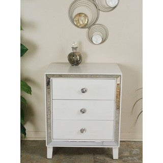 Avery Collection White Wood 3-drawer Cabinet with Clear Mirror