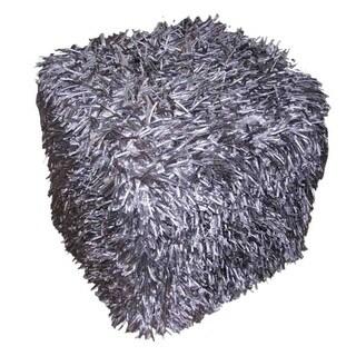 Design Accents Hand Woven Mulberry Cotton Blend Square Plush Pouf
