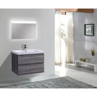 Moreno Bath MOB 30 Inch Wall Mounted Modern Bathroom Vanity With Reinforced Acrylic Sink