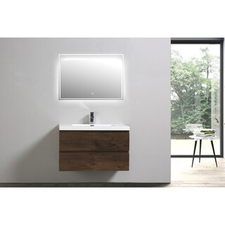 Moreno Bath MOB 36 Inch Wall Mounted Modern Bathroom Vanity With Reinforced Acrylic Sink