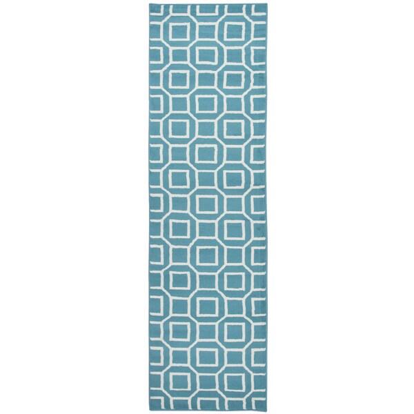 Glendale Blue/ Aqua Geometric Runner Rug (2'3 x 7'7)