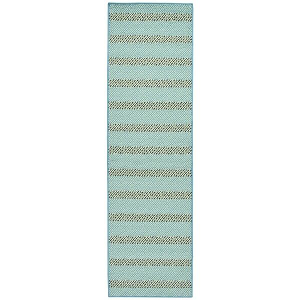 Glendale Blue Aqua Stripe Runner Rug 2 X27
