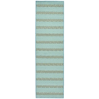 Glendale blue/aqua stripe Runner Area Rug (2'3 x 7'7)