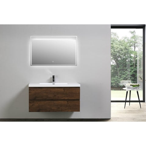 Moreno Bath MOB 42 Inch Wall Mounted Modern Bathroom Vanity With Reinforced Acrylic Sink