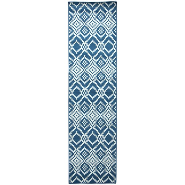 Glendale navy pattern Runner Area Rug (2'3 x 7'7)