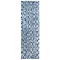 "Hand-Woven Ellington royal Blue Jute/Wool pattern Runner Area Rug (2'6"" x 8')"