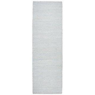 "Hand-Woven Ellington natural Jute/Wool Chevron Runner Area Rug (2'6"" x 8')"