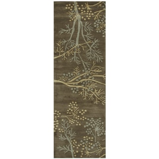 """Hand-Tufted Craft Brown Wool Floral Runner Area Rug (2'6"""" x 8') - 2'6"""" x 8'"""