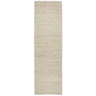 "Hand-Woven Ellington Natural Jute/Wool pattern Runner Area Rug (2'6"" x 8')"