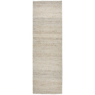 "Hand-Woven Ellington natural Jute/Wool Chevron Runner Area Rug (2'6"" x 8')"
