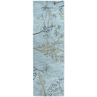 """Hand-Tufted Craft Blue Wool Floral Runner Area Rug (2'6"""" x 8')"""
