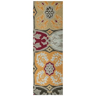 """Hand-Tufted Country multi Wool ornamental Runner Area Rug (2'6"""" x 8')"""