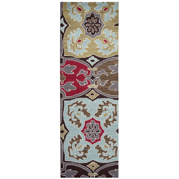 Hand-tufted Country Multicolor Wool Ornamental Runner Rug (2'6 x 8')