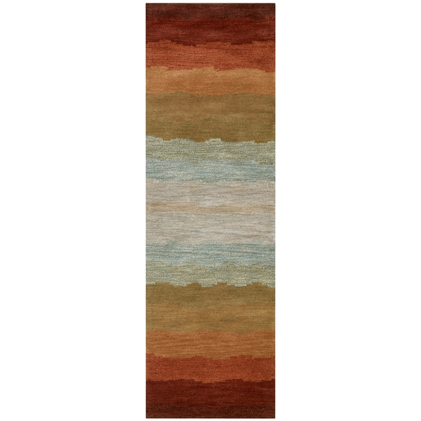 Hand Tufted Colours Multi Wool Striped Runner Area Rug 2 X27 6