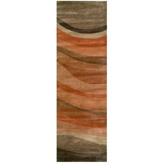 Hand-tufted Colours Olive Wool Striped Runner Rug (2'6 x 8')
