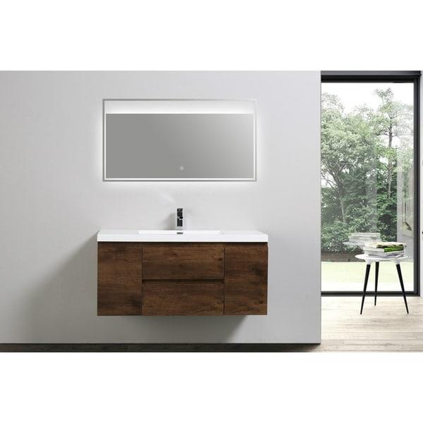 Moreno Bath MOB 48 Inch Wall Mounted Modern Bathroom Vanity With Reinforced Acrylic Sink