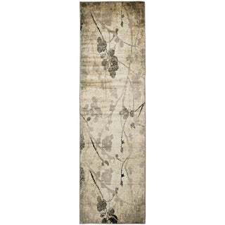 Bay Side ivory/yellow floral Runner Area Rug (2'3 x 7'7)