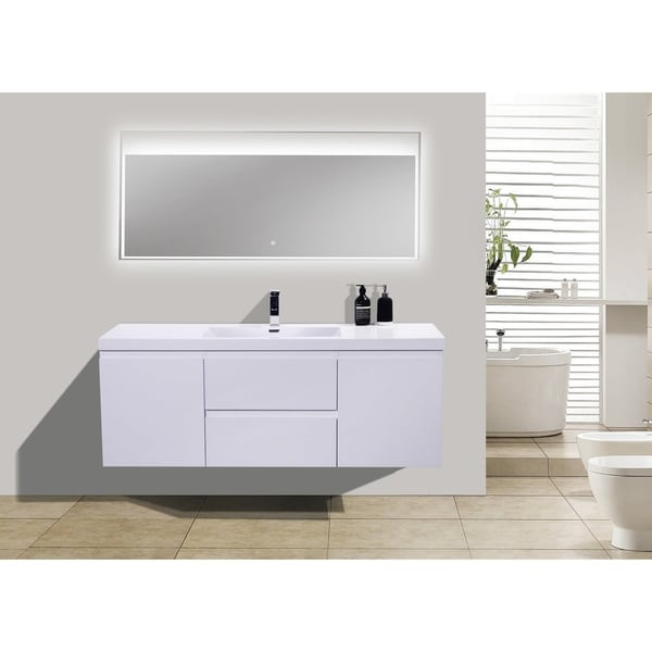 Moreno Bath MOB 60 Inch Wall Mounted Modern Bathroom Vanity With Reinforced  Acrylic Single Sink