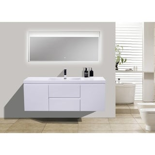 Moreno MOB 60-inch Single Sink Wall Mounted Modern Bathroom Vanity With Reinforced Acrylic Sink (Option: Walnut Finish)