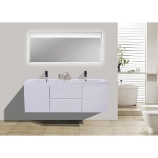 Moreno MOB 60-inch Double Sink Wall Mounted Modern Bathroom Vanity With Reinforced Acrylic Sink