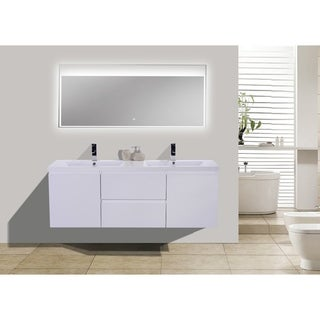 Moreno MOB 60-inch Double Sink Wall Mounted Modern Bathroom Vanity With Reinforced Acrylic Sink (More options available)