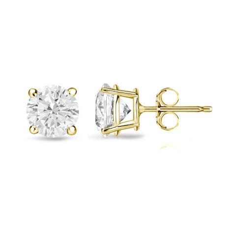 Auriya 3/4ctw Round Clarity-enhanced Diamond Stud Earrings 18k Gold