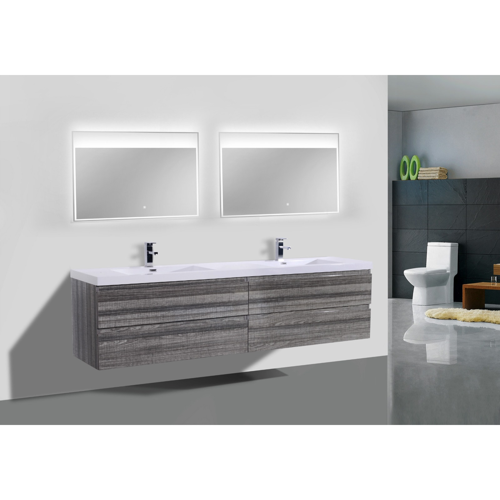 Moreno MOB 72-inch Double Sink Wall Mounted Modern Bathro...