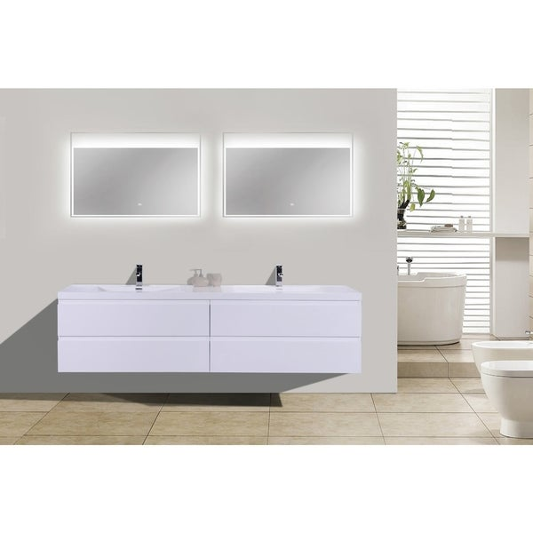 Moreno Bath MOB 84 Inch Wall Mounted Modern Bathroom Vanity With Reinforced Acrylic Double Sink