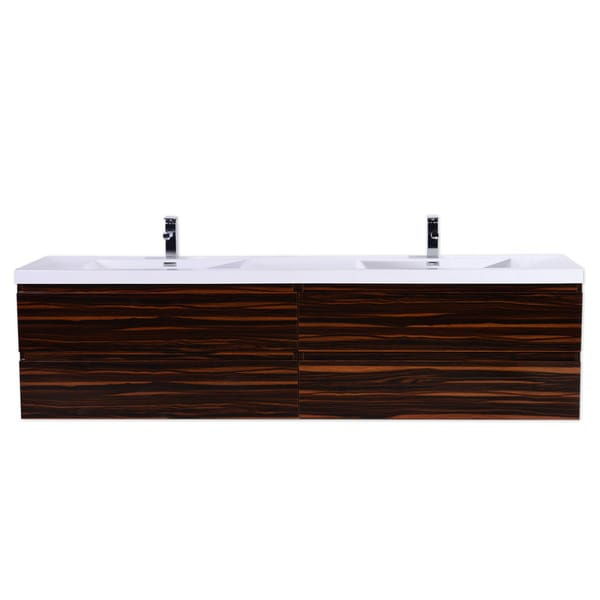Moreno Mob 84 Inch Double Sink Wall Mounted Modern Bathroom Vanity With Reinforced Acrylic Sink