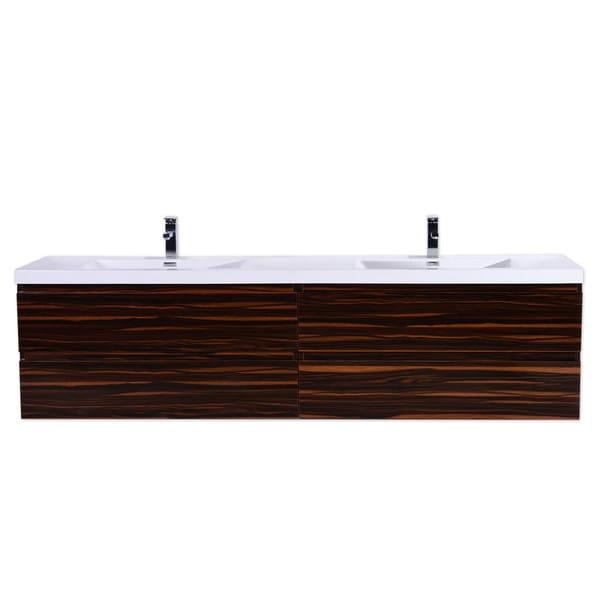 Moreno MOB 84-inch Double Sink Wall Mounted Modern Bathroom Vanity With  Reinforced Acrylic Sink