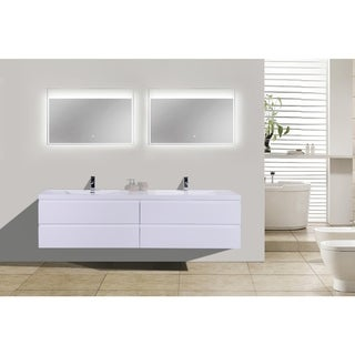 Moreno MOB 84-inch Double Sink Wall Mounted Modern Bathroom Vanity With Reinforced Acrylic Sink