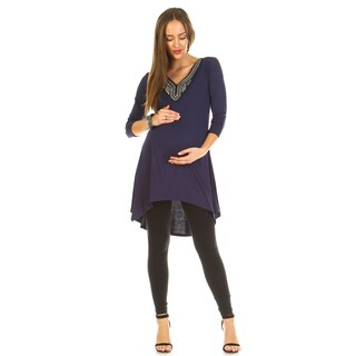 White Mark Sofia Embellished Maternity Tunic