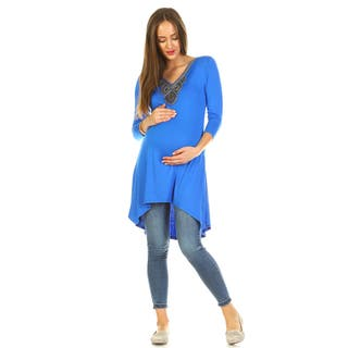 White Mark Women's Calla Embellished Maternity Tunic|https://ak1.ostkcdn.com/images/products/14725336/P21253965.jpg?impolicy=medium