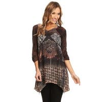 High Secret Women's Brown Patchwork 3/4 Sleeves V-neck Tunic Top