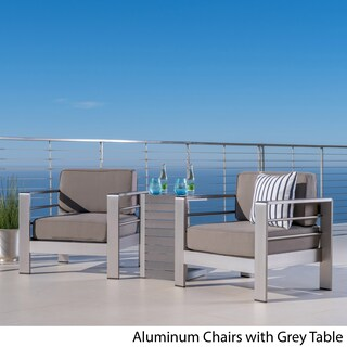 Cape Coral Outdoor 3-piece Aluminum Seating Set with Optional Sunbralla Cushions by Christopher Knight Home (More options available)