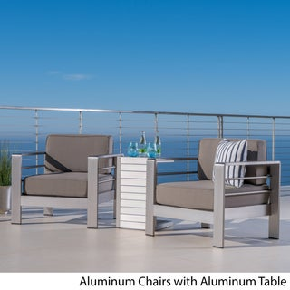Cape Coral Outdoor 3-piece Aluminum Seating Set with Optional Sunbralla Cushions by Christopher Knight Home (Option: aluminum table + khaki cushion)