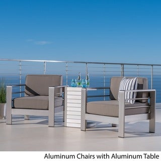 Cape Coral Outdoor 3-piece Aluminum Seating Set with Optional Sunbralla Cushions by Christopher Knight Home