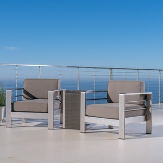 Cape Coral Outdoor 3-piece Aluminum Seating Set with Cushions by Christopher Knight Home
