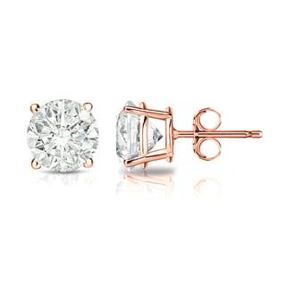 Auriya 14k Gold 1 1/4ct TDW 4-Prong Push-Back Clarity-Enhanced Diamond Stud Earrings (J-K, I2-I3)