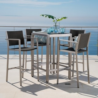 Cape Coral Outdoor 5 Piece Aluminum Square Bar Set By Christopher Knight  Home Part 73