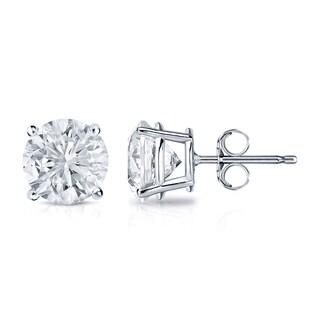 Auriya 14k Gold 1 1/4ct TDW 4-Prong Push-Back Clarity-Enhanced Diamond Stud Earrings (G-H, I1-I2)