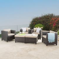 Puerta Outdoor 6-piece Wicker Seating Set with Cushions by Christopher Knight Home