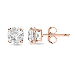 Auriya 14k Gold 1ct TDW 4-Prong Push-Back Clarity-Enhanced Diamond Stud Earrings (H-I, I2-I3)