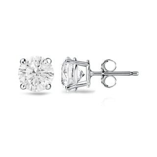 Auriya 14k Gold 1ct TDW 4-Prong Push-Back Clarity-Enhanced Diamond Stud Earrings (H-I, I1-I2)