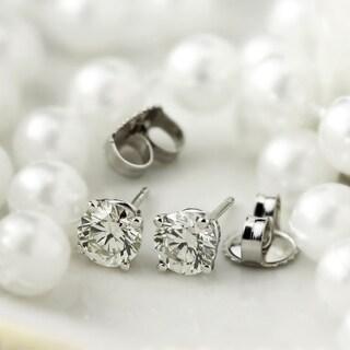 14k Gold Round 1ct TW Clarity Enhanced Diamond Stud Earrings