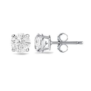 Auriya 14k Gold 3/4ct TDW 4-Prong Push-Back Clarity-Enhanced Diamond Stud Earrings (H-I, I1-I2)
