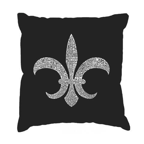 LA Pop Art Fleur De Lis Black Cotton 17-inch Throw Pillow Cover