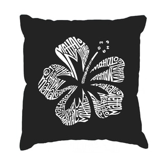LA Pop Art 'Mahalo' Black Cotton 17-inch Throw Pillow Cover