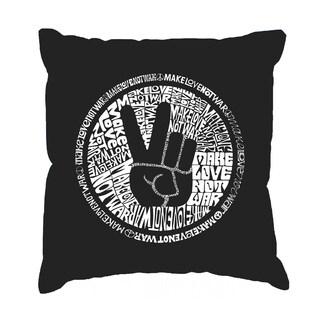 LA Pop Art Black 'Make Love Not War' 17-inch Throw Pillow Cover